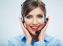 Close Up Portrait. Woman call center operator. Business woman w Stock Photo
