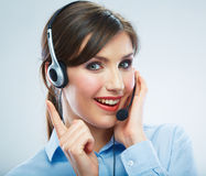 Close Up Portrait. Woman call center operator. Business woman w Stock Photography