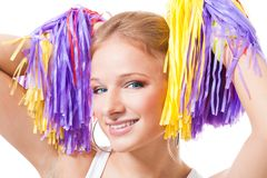 Close up portrait of a woman cheer leader. Holding Pompoms Stock Photos