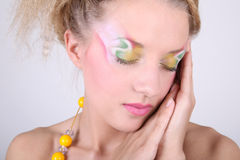 Close-up portrait of woman with creative make-up Stock Photos