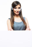 Close up portrait of Woman customer service worker Royalty Free Stock Photography
