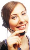 Close up portrait of Woman customer service worker royalty free stock photo