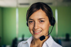 Close up portrait of Woman customer service worker Stock Photo