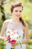 Close up portrait of  woman in garden Stock Photo