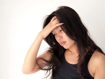 Close up Portrait of woman with headache Stock Photos