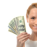 Close up portrait of woman holding up cash money dollar currency Stock Photography