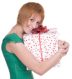 Close up portrait of woman with huge gift Stock Photo