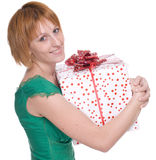 Close up portrait of woman with huge gift Stock Photos