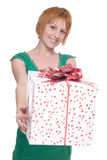 Close up portrait of woman with huge gift Stock Images