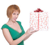 Close up portrait of woman with huge gift Royalty Free Stock Photography
