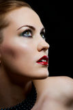 Close-up portrait  woman with red lips Royalty Free Stock Photo