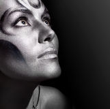 Close-up portrait woman with silver bodyart Royalty Free Stock Images