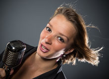 Close-up portrait of woman singer Stock Photography