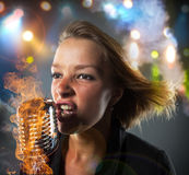 Close-up portrait of woman singer Royalty Free Stock Images