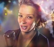 Close-up portrait of woman singer Stock Photos