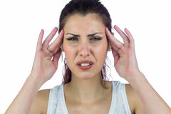 Close-up portrait of woman suffering from headache Stock Photography