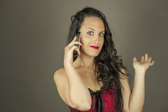 Close up portrait woman talking on the phone Royalty Free Stock Image