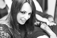 Close up portrait woman tattoo artist working tattoo Royalty Free Stock Photos