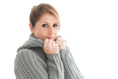 Close up portrait of woman in warm clothing Stock Photos