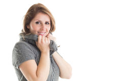 Close up portrait of woman in warm clothing Royalty Free Stock Photography