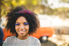 Close up portrait of woman wearing artificial eyelashes Royalty Free Stock Photography