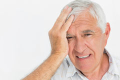 Close-up portrait of a worried senior man Royalty Free Stock Image