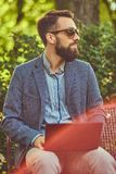 Close-up portrait of a writer with a full beard and stylish haircut, working with a laptop computer while sitting on a. Bench in a park royalty free stock photo