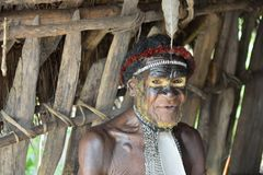 Close up Portrait of Yali Mabel, the chief of Dani tribe Stock Images