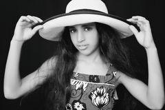 Portrait of a young african american girl with sun hat Royalty Free Stock Photos