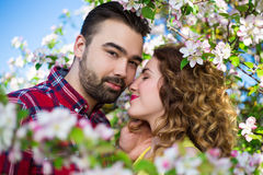 Close up portrait of young beautiful in blooming garden. Close up portrait of young beautiful in blooming summer garden Royalty Free Stock Images