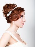 Close-up portrait of young beautiful bride in a wedding dress with a wedding makeup and hairstyle. Close-up portrait of young beautiful bride in a wedding dress Stock Photo