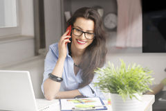Close-up portrait of young beautiful businesswoman Stock Image