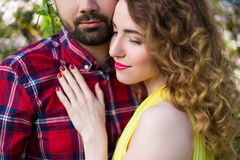 Close up portrait of young beautiful couple in love Stock Photos