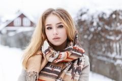 Close-up portrait of a young beautiful girl with winter vintage Royalty Free Stock Photos