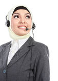 Beautiful Muslim woman on the phone Royalty Free Stock Photography