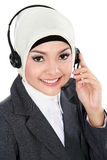 Beautiful Muslim woman on the phone Royalty Free Stock Photos