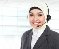 Beautiful Muslim woman customer service operator Stock Photo