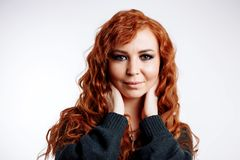Close up portrait of young beautiful redhead girl stock photos