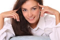 Close-up portrait of young beautiful smiling woman Royalty Free Stock Images