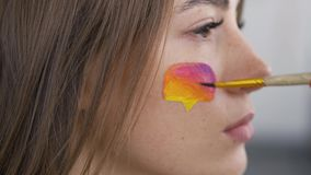 Close-up portrait of a young beautiful woman. Artist painting multicolor icon of social media on the girl`s face using. Small soft brush. Body art concept stock video footage