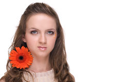 Close up portrait of young beautiful woman with fl Stock Photography