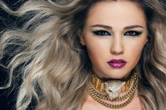 Close-up portrait of young beautiful woman stock photography