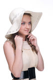 Close up portrait of young beautiful woman in hat Royalty Free Stock Images