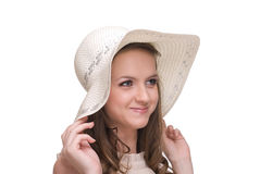 Close up portrait of young beautiful woman in hat Stock Photo