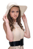Close up portrait of young beautiful woman in hat Stock Photos