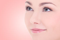 Close up portrait of young beautiful woman with long eyelashes o Royalty Free Stock Image
