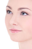 Close up portrait of young beautiful woman with long eyelashes a Stock Images