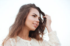 Close up portrait of young beautiful woman with long hair Stock Photography