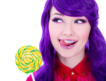 Close up portrait of young beautiful woman with purple hair, lol Stock Photo