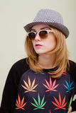 Close up portrait of young blonde serious hipster royalty free stock photos